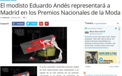 El modisto Eduardo Andés representará a Madrid en los Premios Nacionales de la Moda